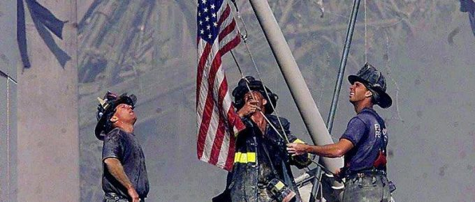 9-11 raising flag