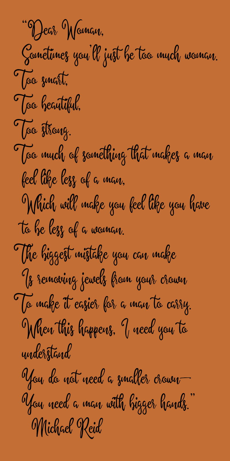 dear woman poem